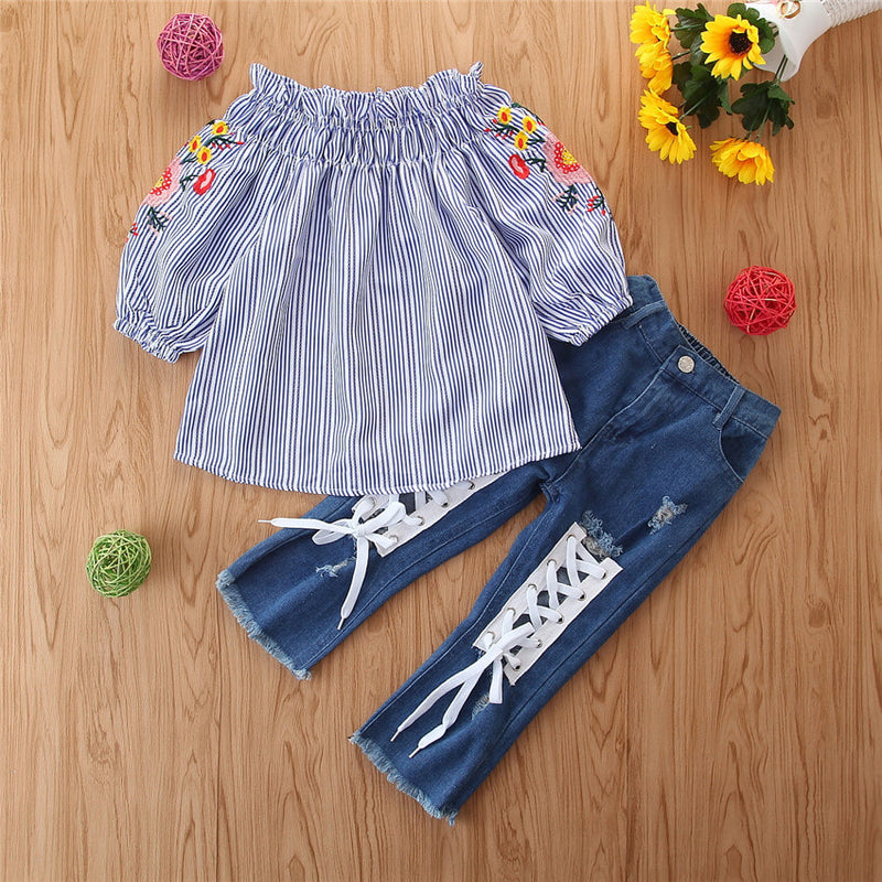 Ruffle Off Shoulder Top & Lace Up Jeans Set