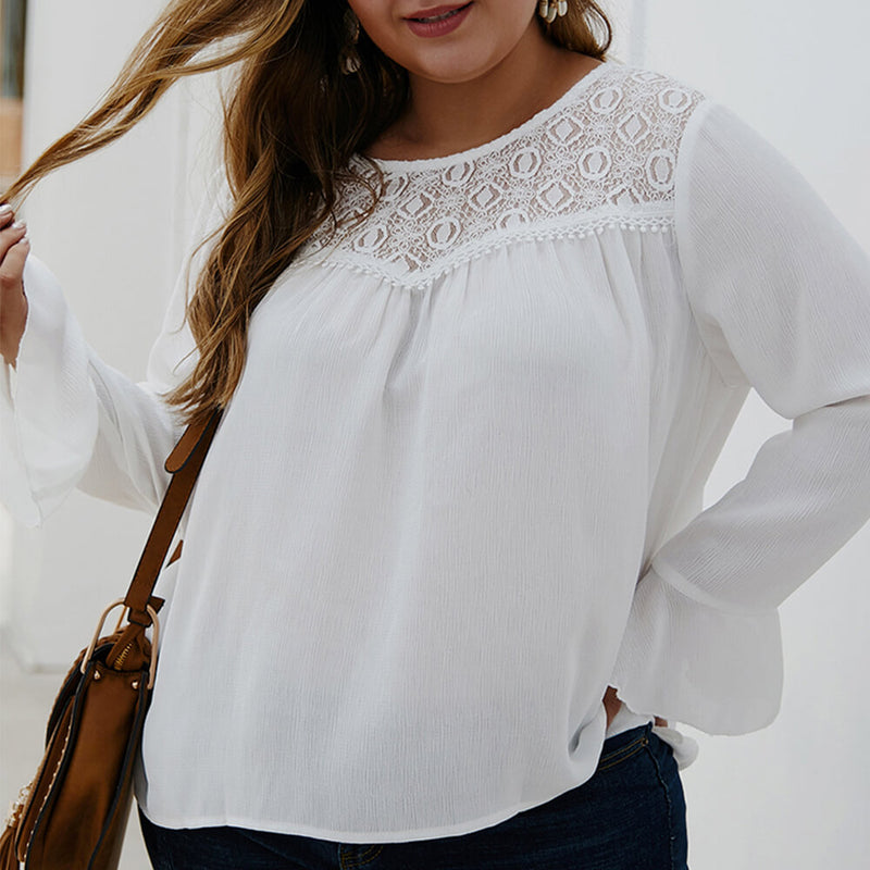 Plus Size White Long Flounce Sleeves Blouse