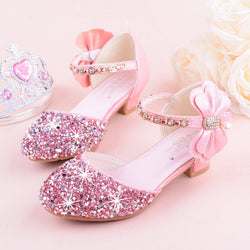 Sequins Front Bow Side Decor Girl Shoes