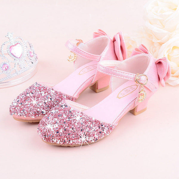 Sequins Front Bow Back Decor Girl Shoes