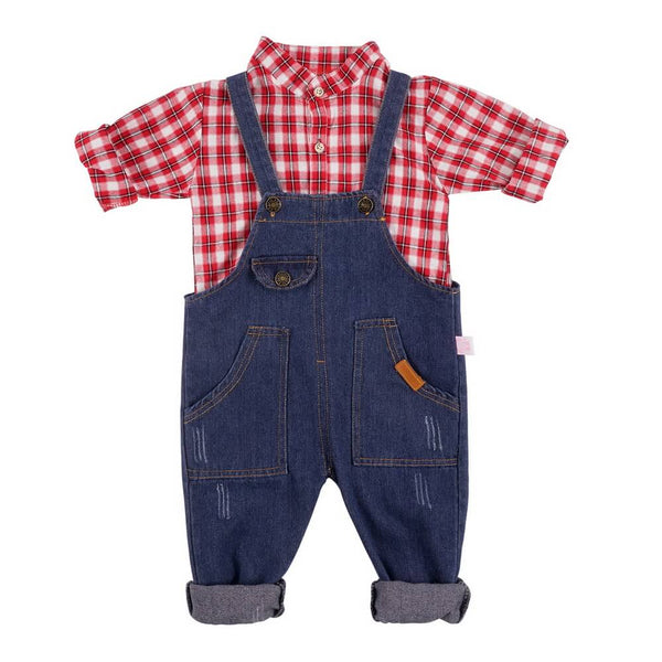 Plaid Long Sleeve Shirt & Pocket Denim Overall Set