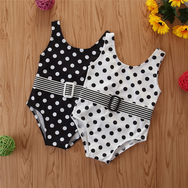 Polka Dot Belt Front One-piece Swimwear