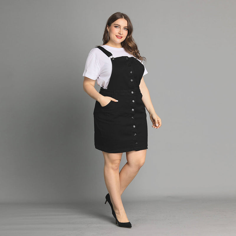 Plus Size Button Front Denim Overall Dress