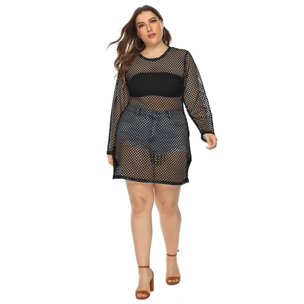 Plus Size Fishnet Mesh Cover Up