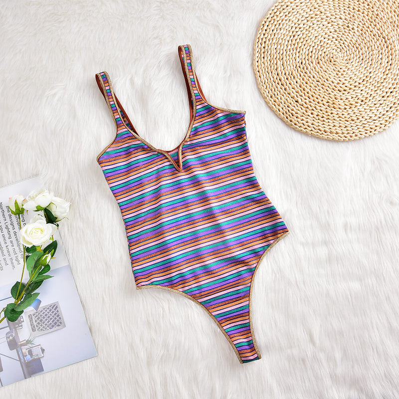 Sheer Colorful Striped One-piece Swimwear