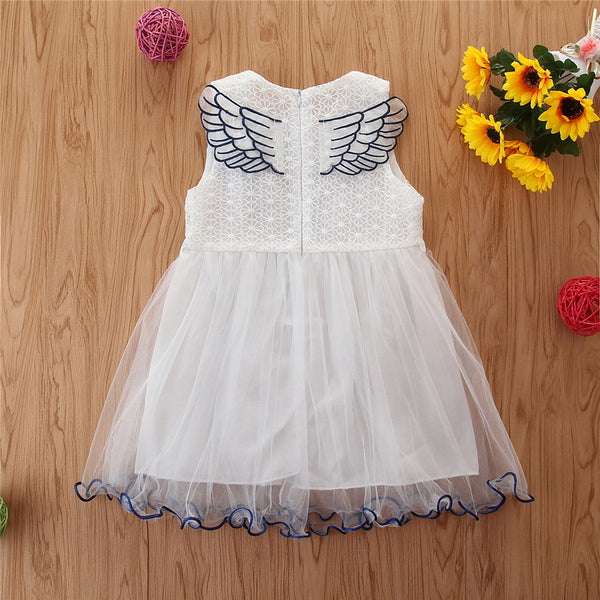 3D Flower & Wings Mesh Overlay Dress