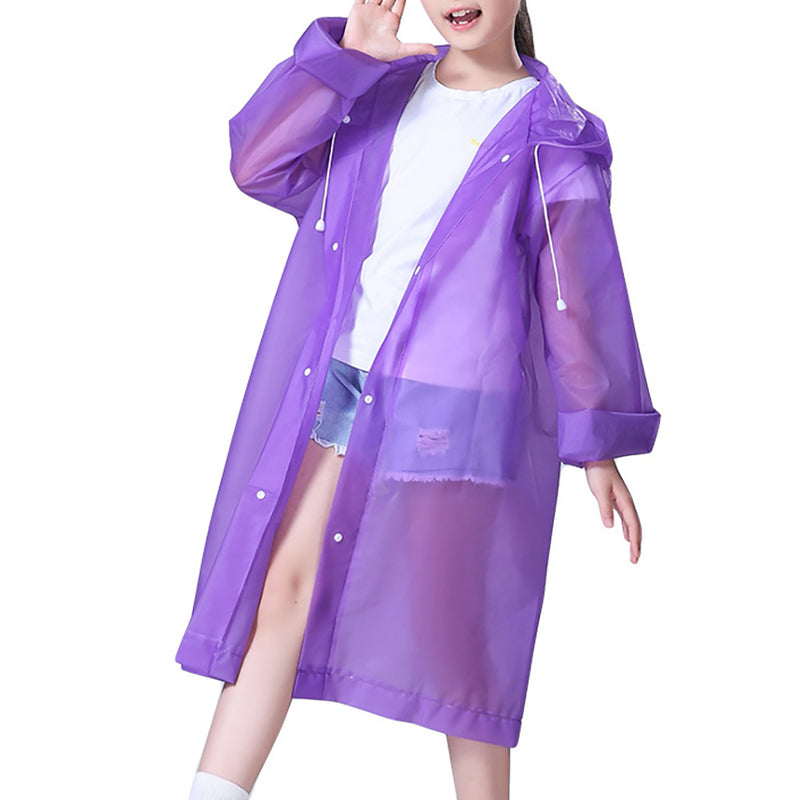 Girls Button Front Drawstring Hooded Raincoat