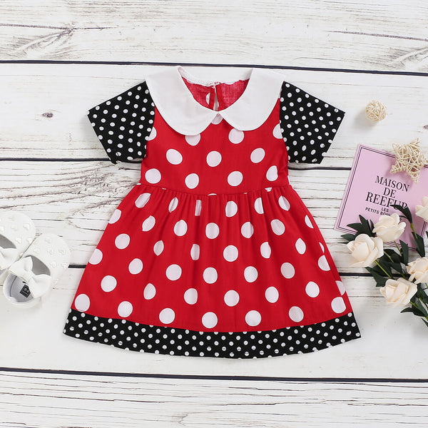 Toddler Girls Contrast Polka Dot Dress