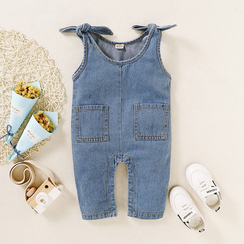 Baby Pocket Front Knot Shoulder Overall