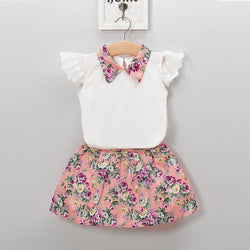 Toddler Girl Lace Sleeve Keyhole Back Top & Floral Print Skirt