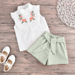 Baby/Toddler Girl Flower Embroidery Ruffle Top & Self Belted Shorts