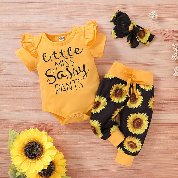 Baby Girl Letter Graphic Bodysuit & Sunflower Print Pants