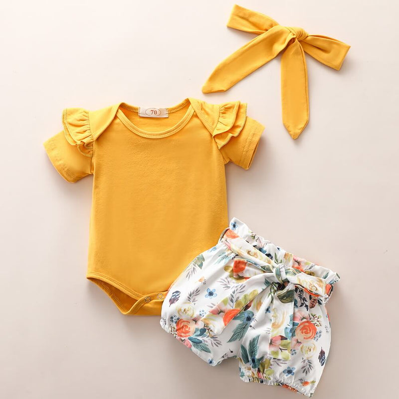 Baby Girl Ruffle Trim Top & Floral Self Belted Shorts