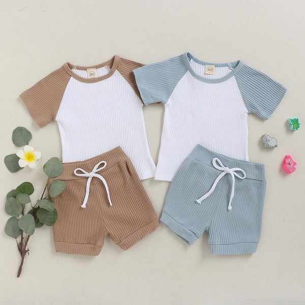 Toddler Boy Rib-knit Cut And Sew Top & Shorts Set