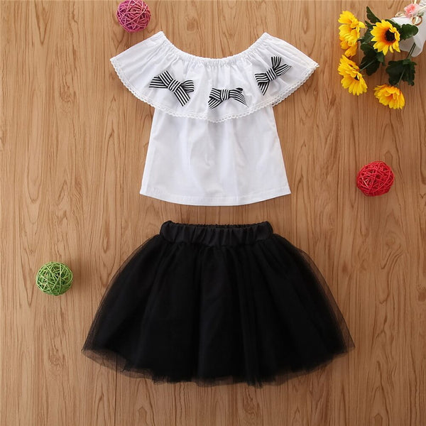 Toddler Girl Striped Bow Decor Top & Black Mesh Skirt