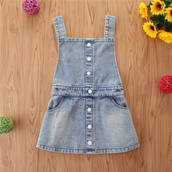 Toddler Girl Button Front Denim Overall Dress