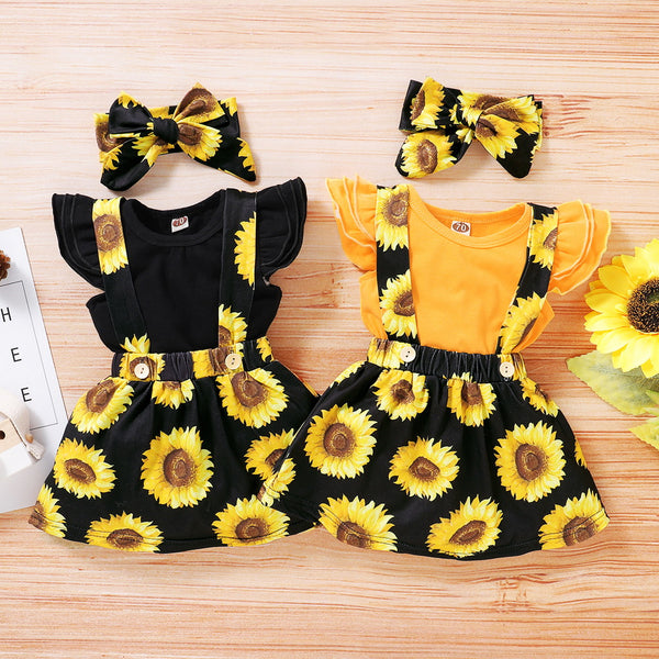 Baby Girl Ruffle Trim Bodysuit & Sunflower Print Pinafore Skirt