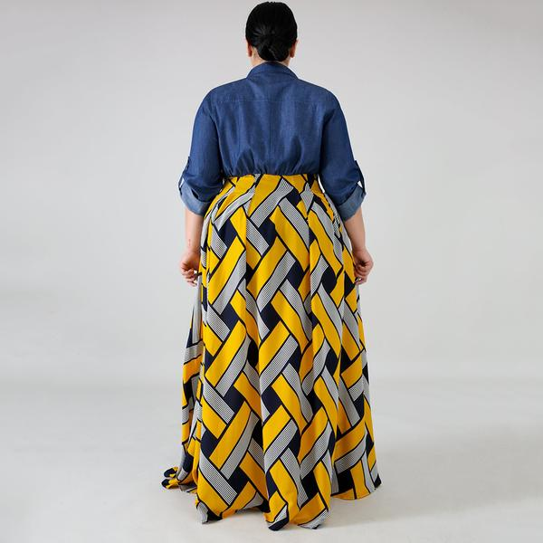 Plus Size Tribal Print Button Front Maxi Dress