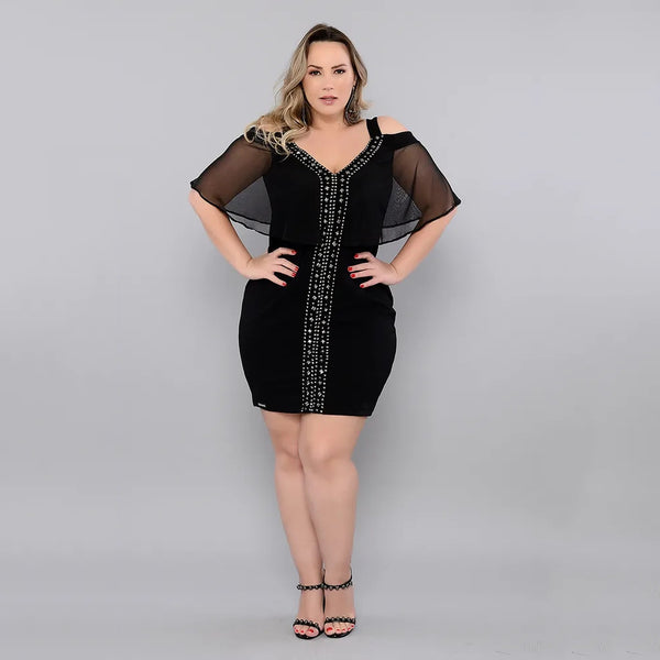 Plus Size Cold Shoulder Mesh Bodycon Dress