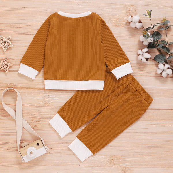 Baby/Toddler Solid Rib-knit Top & Pants