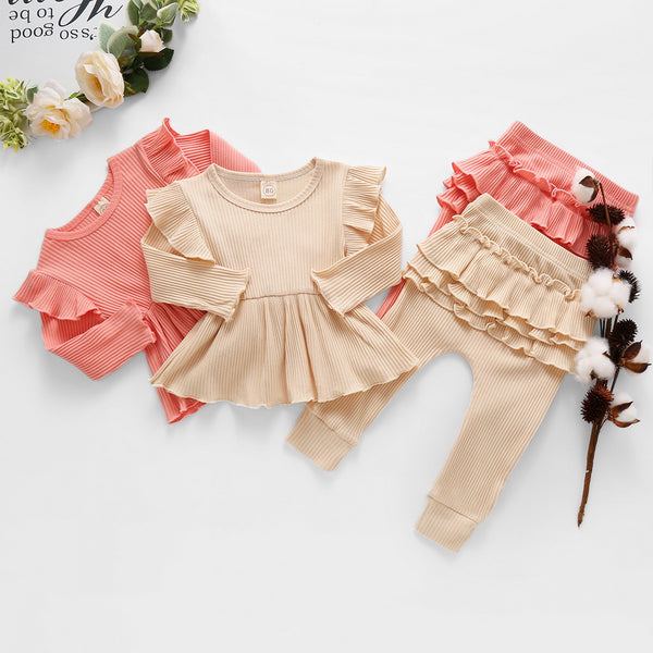 Baby/Toddler Girl Long Sleeve Top & Ruffle Trim Pants