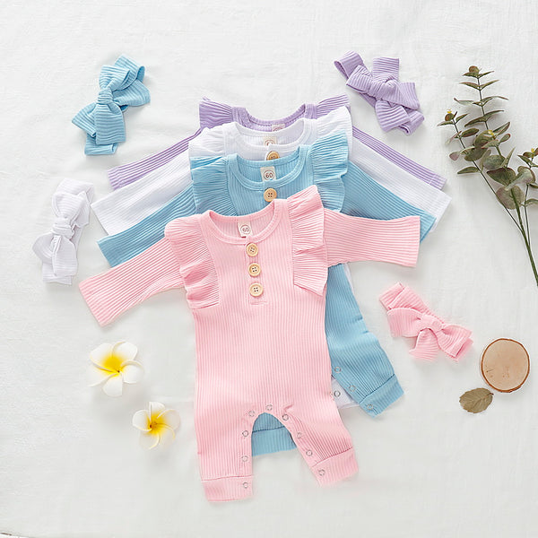 Baby Girl Long Sleeve Ruffle Trim Jumpsuit & Headband