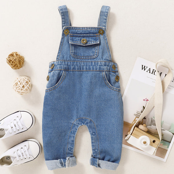 Baby Pocket Front Button Denim Overall