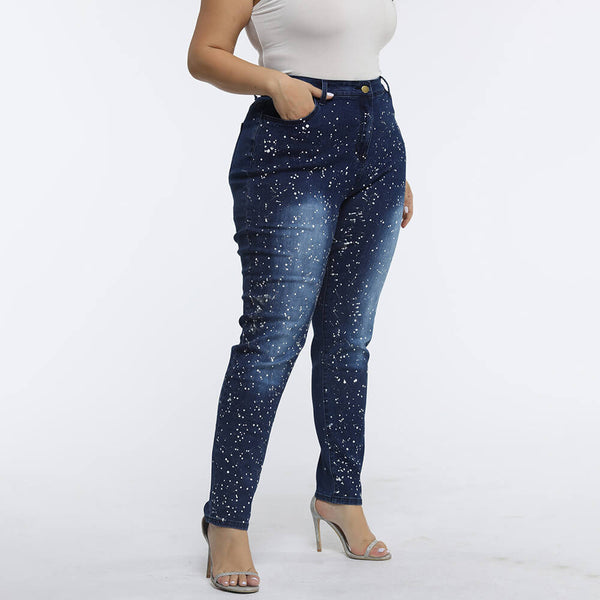 Plus Size Wash Shiny High Waist Jean