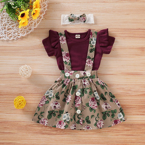 Ruffle Short Sleeve Bodysuit & Floral Pinafore Skirt Set