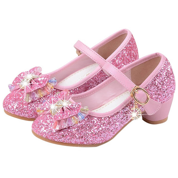 Sequins Jewelled & Studded Bow Girl Shoes