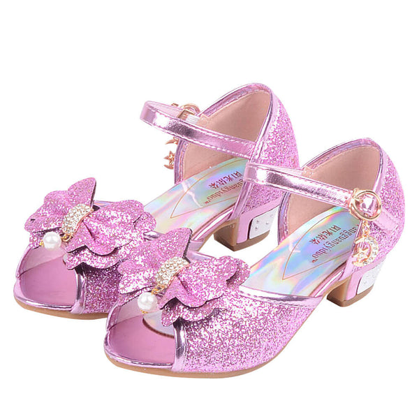 Peep Toe Pearl Bow Front Girl Shoes