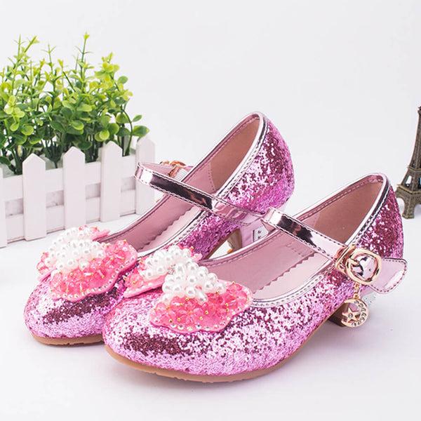 Beaded Bow Sequins Girls Party Shoes