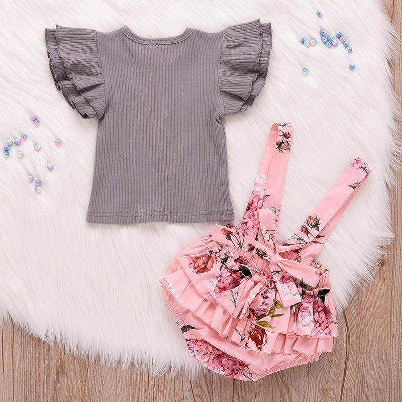Baby/Toddler Girl Ruffle Sleeve Top & Floral Overall Romper Set