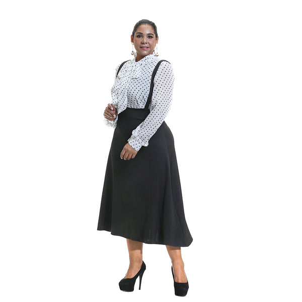 Plus Size Black A-line Pinafore Skirt