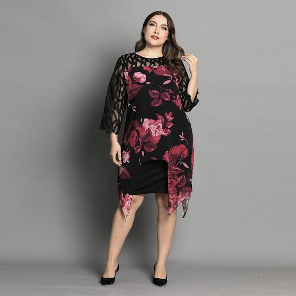 Plus Size Floral Irregular Hem Overlay Panel Dress