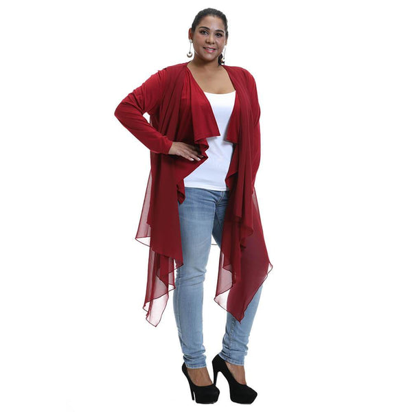 Plus Size Irregular Hem Long Sleeve Outwear