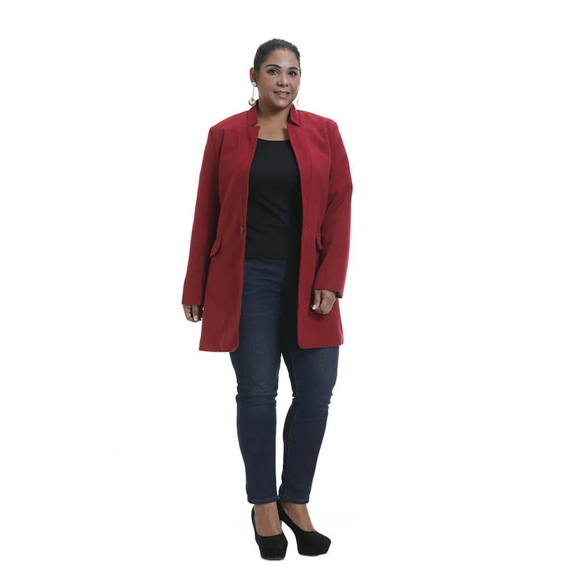 Plus Size Darkred Long Sleeve Outwear
