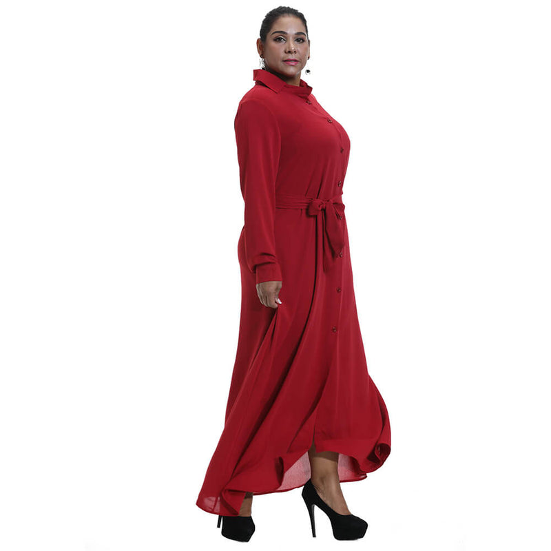 Plus Size Solid Button Maxi Dress