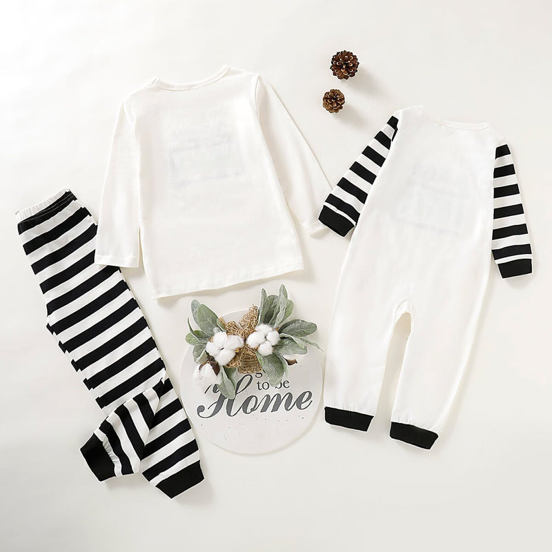 Lapa Battery Printed White Striped Family Pajamas Set