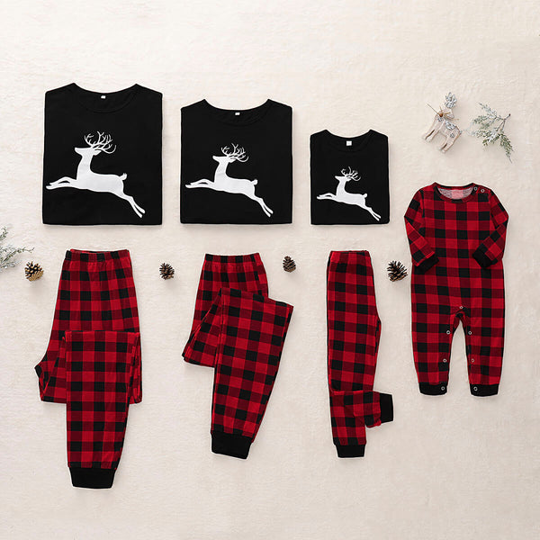 Plaid Reindeer Printed Family Pajama Set