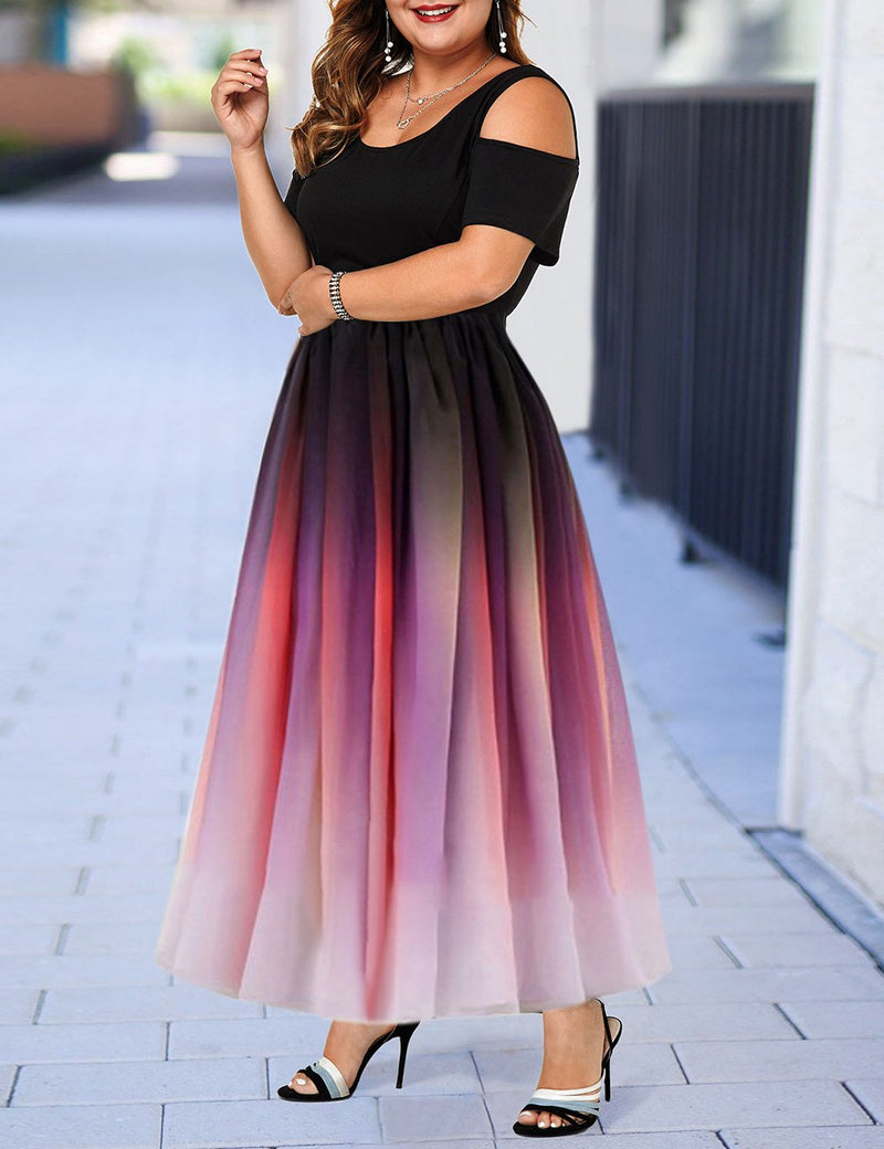 Plus Size Pink Cold Shoulder Color Gradient Dress