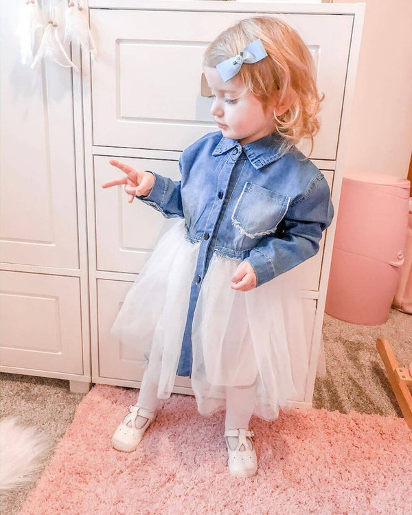 Long Sleeve Denim Mesh Splice Dress