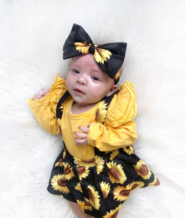 Ruffle Trim Bodysuit & Sunflower Print Pinafore Skirt