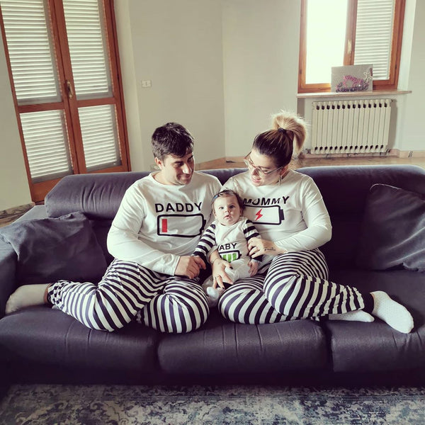 Battery Printed White Striped Family Pajamas Set