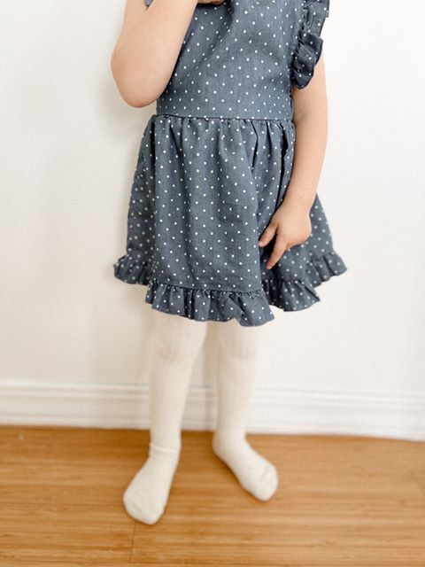 Baby/Toddler Girl Square Neck Polka Dot Print Ruffle Trim Dress