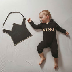 Baby/Toddler Boy King Letter Print Hooded Jumpsuit