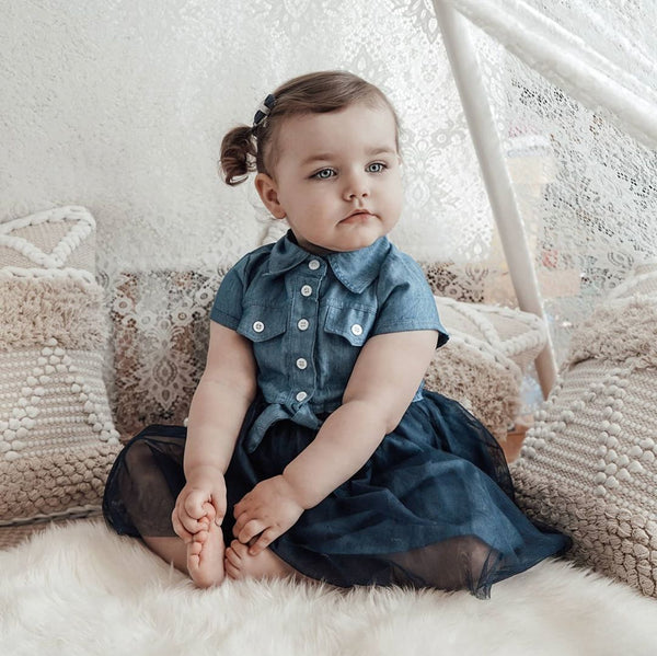 Toddler Girl Lapel Collar Mesh Denim Splice Dress