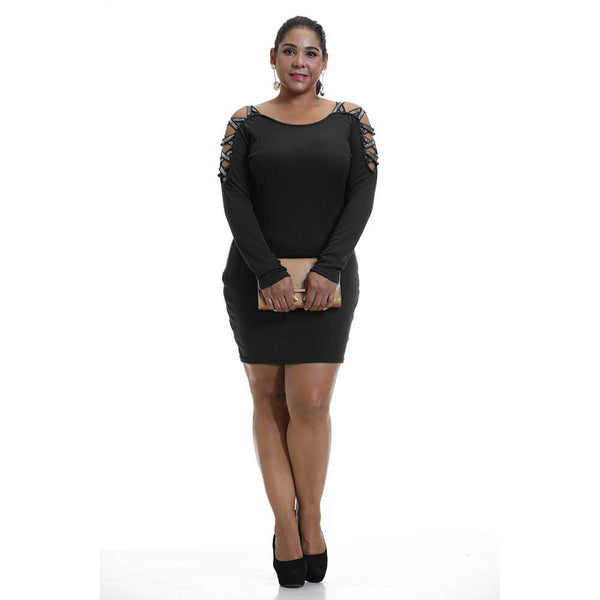 Plus Size Black Hollow Sleeve Dress