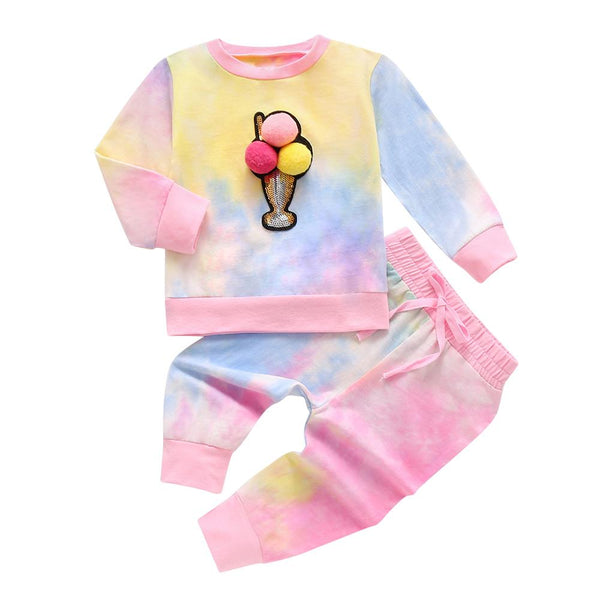 Baby/Toddler Girl Pompom Decor Top & Tie Dye Pants