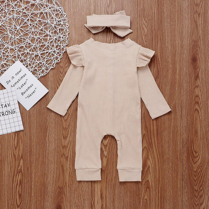lapa Baby Girl Long Sleeve Solid Pink Romper